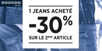 actu 1 jean acheté = -30% sur le 2ème article