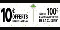 10€ offerts en carte cadeau tous les 100€ d'achats