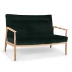 canape 2 places fixe en chene et velours vert fonce anton