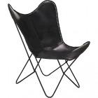 fauteuil avec assise en cuir de vache noir butterfly