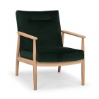 fauteuil en chene et velours vert fonce anton