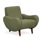 fauteuil retro en tissu kaki bean