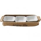 lot de 3 coupelles en porcelaine avec support en jute life
