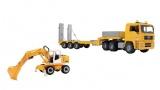 ensemble camion de transport man et pelleteuse liehberr