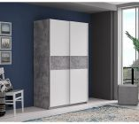 armoire 2 portes coulissantes ohio blanc beacuteton l120 cm