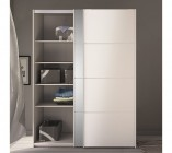 armoire 2 portes coulissantes glass blanc laqueacute l 150 cm