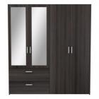 armoire 4 portes 2 tiroirs ready imitation checircne fonceacute
