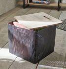 boite metal couvercle en bois cubik noir/naturel