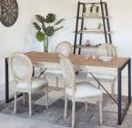 chaise medaillon cannage et tissu naturel