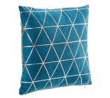 coussin 40x40 cm graphique bleu peacutetrole