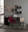 fauteuil de bureau velvet rouge et noir