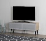 meuble tv l120cm kylian porte acoustique gris/chene