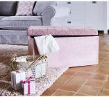 pouf pliable 375x375x375 cm origami rose / gris