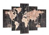 set 5 toiles 100x150 cm map noir
