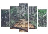 set 5 toiles 150x100 cm jungle vert / marron