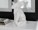 statue origami h51 cm renard blanc