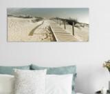 tableau verre 125x50 cm dune bleu et beige