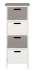 photo Tour de rangement 4 tiroirs FLORA blanc et gris