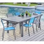 hyba - ensemble 1 table 180/240 cm et 6 fauteuils