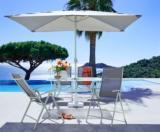ensemble rona 1 table 4 fauteuils 1 parasol taupe hyba
