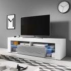 meuble tv / banc tv - bianko - avec led - tablette en verre