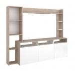 meuble tv haut a niche 204 cm rio coloris blanc/chene