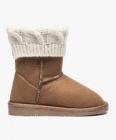boots fourres avec col en maille torsadee