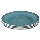 assiette plate bleu effet spirale x4