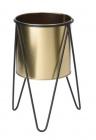 cache pot avec support trepied metal dore et noir