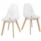 chaise chloe transparente pieds naturel x2