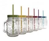 chope transparente avec couvercle colore et paille x 6