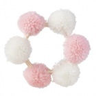 couronne de pompons roses et blancs