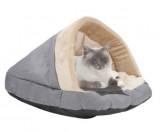 coussin niche pour chat gris et beige