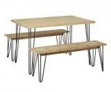 ensemble repas 4 personnes table et banc x2 metal et bois
