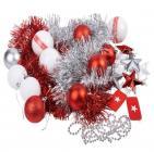 photo Kit décoration sapin nordique rouge et blanc 60 pièces