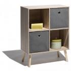 meuble de rangement 4 casiers naturel et gris bilbao