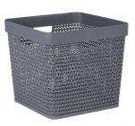paniere a linge cube avec poignees grise 56 l