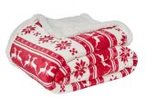 plaid collection noel motif cerf rouge blanc