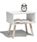 photo Table de chevet blanc et pied bois naturel