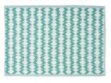 tapis jardin motif geometrique bleu emeraude et blanc