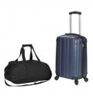 photo Valise cabine trolley bleue et sac de sport noir