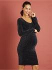 photo Robe de grossesse drapée en maille brillante