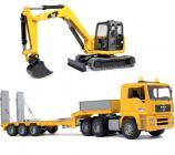 camion de transport man et mini pelleteuse caterpillar