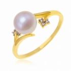 bague en or jaune rhodie perle de culture et diamants