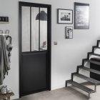bloc-porte noir atelier verre clair artens h204 x l73 cm