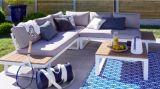 salon bas de jardin aluminium blanc san diego 5 personnes