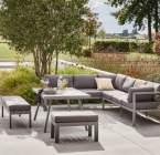 salon bas de jardin aluminium gris / argent naxos