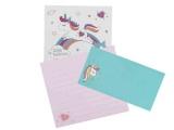 papier a lettres ou bloc-notes licorne