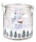bougie de noel lanterne en verre imprime ecureuil