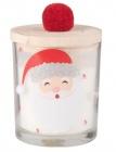 bougie parfumee en verre imprime pere noel avec couvercle